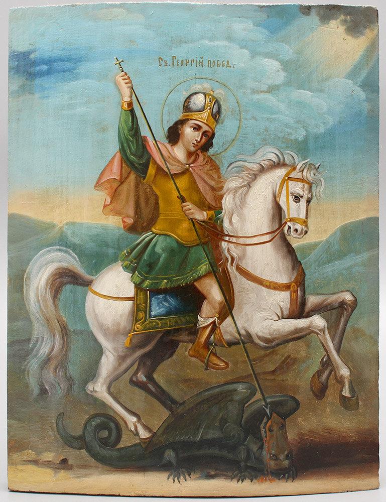 Купить старинную деревянную икону «Святой Георгий Победоносец»,  Владимирские земли, кон. 19 в.