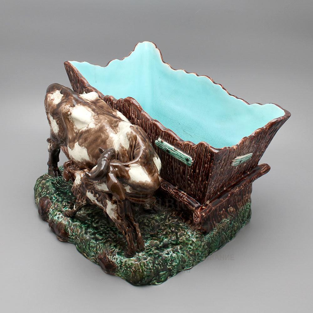Комплект фаянсовых кашпо для цветов «Корова с теленком и ...
